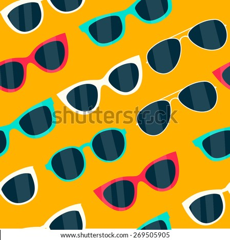 seamless sunglasses pattern - Illustration - stock vector