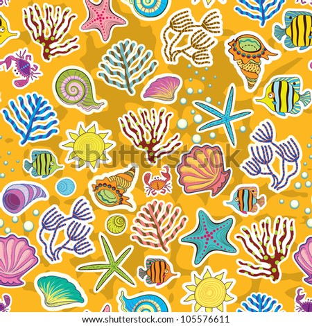 Seamless sunny background. The decor of the sea creatures, fish and seaweed. The symbol of the seas and oceans. - stock vector