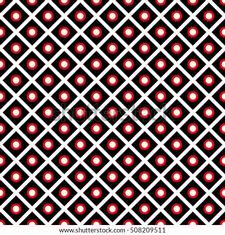 Seamless surface pattern with symmetric ornament. Diagonal lines and circles texture. Geometric abstract background. Grill motif. For digital paper, textile print, web design. Vector art illustration