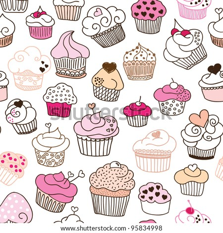 Seamless sweet cupcake party background pattern in vector - stock vector