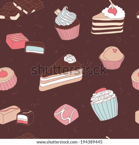 Seamless sweets and bakery vector pattern with candies, cupcakes and cake. - stock vector