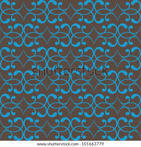 seamless swirl pattern on brown colors.vector background. - stock vector