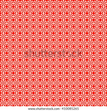 Seamless symmetric geometric ornament. Red white stylized optical prism sunbeam background. Red striped abstract wallpaper.  Vector illustration - stock vector