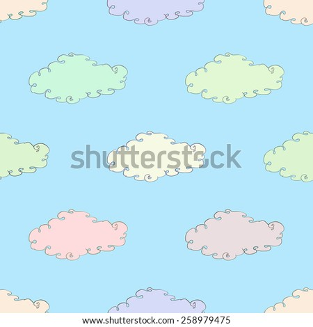 seamless symmetrical ornament with colorful clouds vector illustration