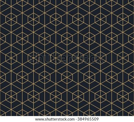Seamless tan blue and brown hexagonal outline grid pattern vector