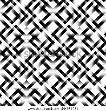 Seamless tartan patterns of diagonal lines. Black and white seamless vector pattern tartan. Vector illustration.
