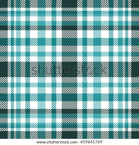Seamless tartan plaid pattern in shades of teal & turquoise green.
