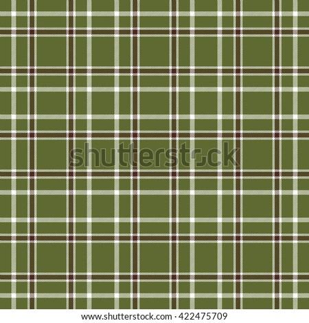 Seamless tartan plaid pattern. White and dark brown stripes on khaki green background. - stock vector