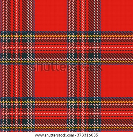 Seamless Tartan Plaid Vector Pattern Background with Fabric Texture - stock vector