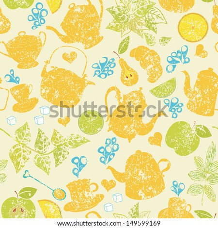 Seamless tea pattern with cups, teapots and fruits - stock vector
