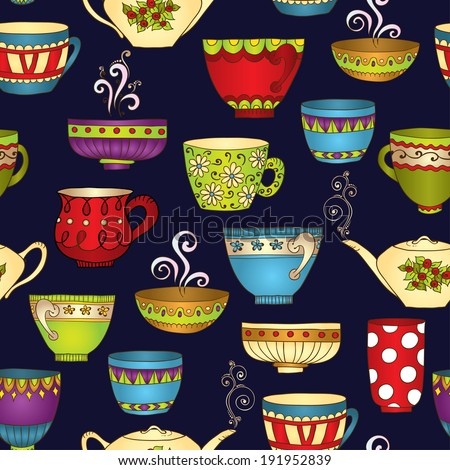 Seamless tea pattern with doodle teapots and cups. Perfect for wallpaper, pattern fills, textile, web page background, surface textures. Vector illustration. - stock vector