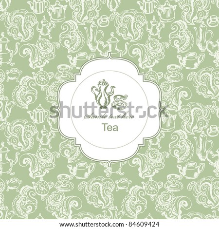 Seamless tea time pattern with card label in green