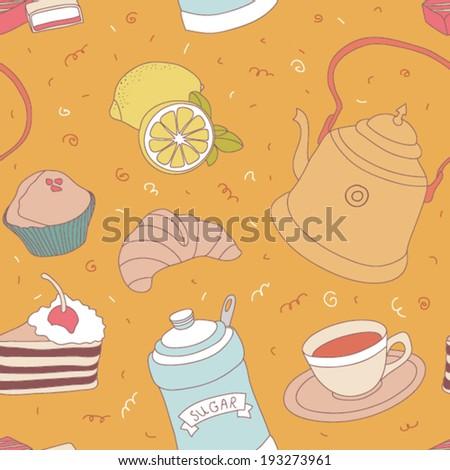 Seamless tea time vector pattern  - stock vector