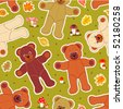 Seamless teddy bears and mushrooms autumn vector pattern (print, swatch, tile, background) - stock vector