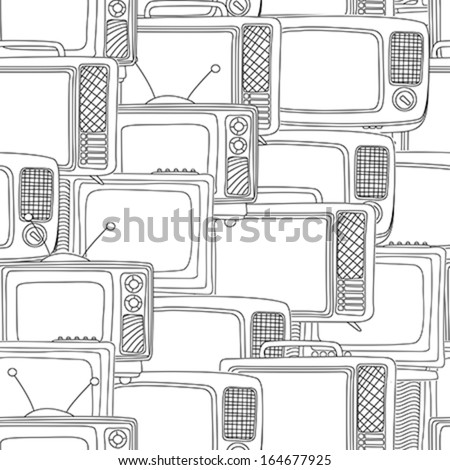 Seamless television sets in black and white - stock vector