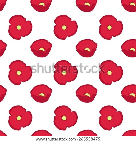 Seamless template of a bright poppies.Poppy flower pattern vector. - stock vector
