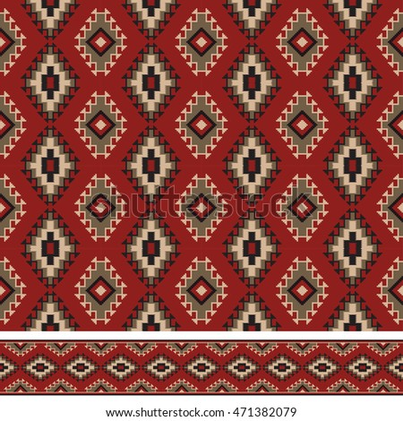 Seamless texture and pattern brush. American Indians tribal style. Pattern brush and swatch are included in vector file.