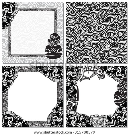 seamless texture, and three picture frames in the style of the Maori - stock vector