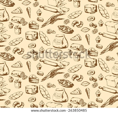 Seamless texture, background with food