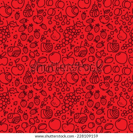 seamless texture berries and fruits vector - stock vector