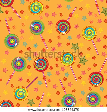 Seamless texture colorful lollipops. Illustration for design - stock vector