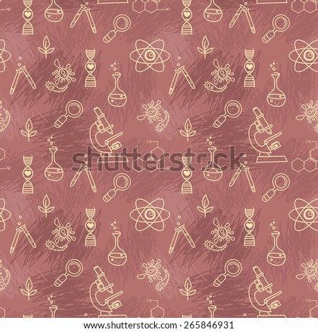 seamless texture for science, vector illustration, hand drawn doodle style - stock vector