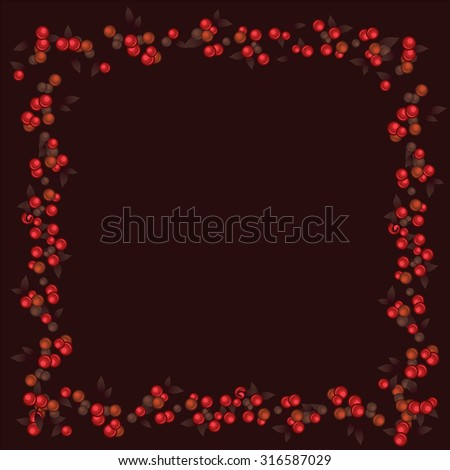 Seamless texture in the form of red berries on dark brown background. Vector.