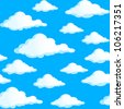 Seamless texture of clouds. Illustration on blue background. - stock vector