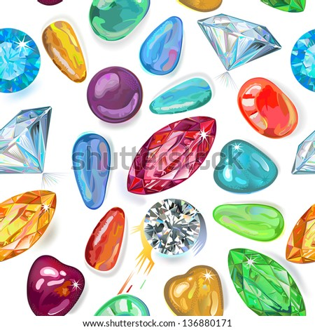 Seamless texture of colored gemstones isolated on white background - stock vector