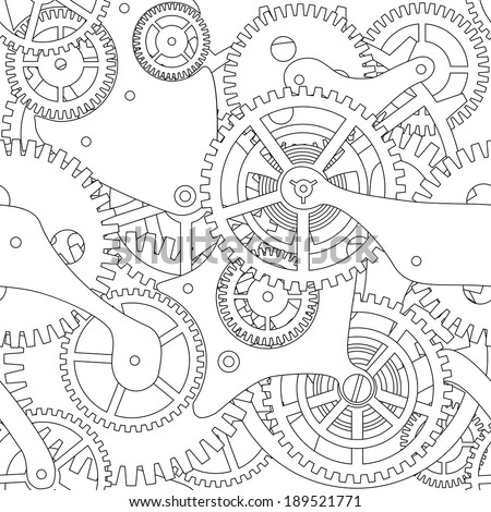 Seamless texture of gear and cogwheel in black and white. - stock vector