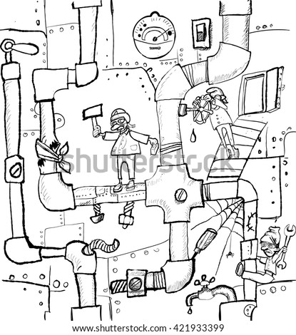 seamless texture, pipes, plumbing, men, steampunk, isolated vector - stock vector