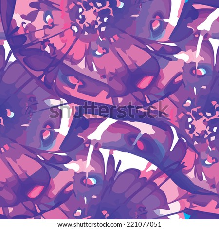Seamless texture, purple. Modern colorful floral pattern resembling watercolor strokes. Design element for backgrounds, printed media, web banners, etc. - stock vector