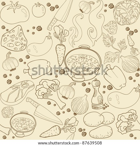 Seamless texture soup cooking - stock vector