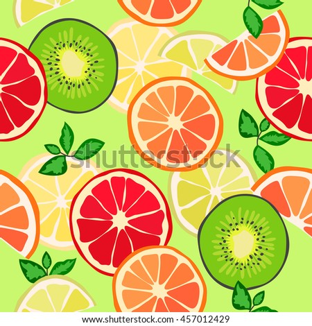 Seamless texture, tropical fruit, citrus. Vector background, pattern.