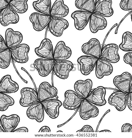 Seamless texture with a four-leaf clover. Nice doodle illustration. Great textures for your design. It can be use for background, clothing design, wrapping paper. - stock vector
