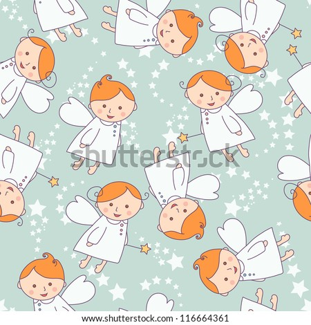 Seamless texture with angels - stock vector