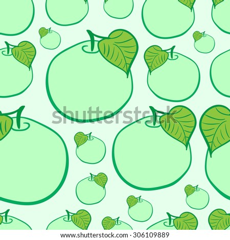 Seamless texture with apples and a leaf on a green background - stock vector