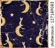 seamless texture with cats, moons and stars. vector - stock vector