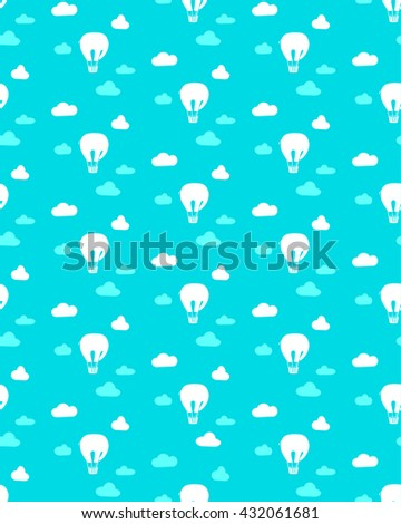 Seamless texture with clouds and air balloon in the form of an elephant. Childish background. - stock vector