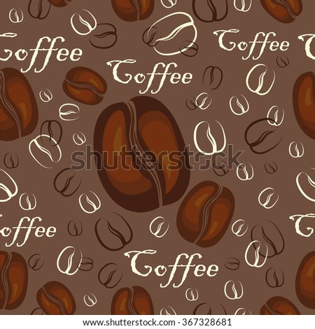 Seamless texture with coffee beans and text on brown background - stock vector