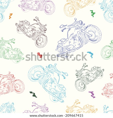 Seamless texture with color identical motorcycles in a disorder - stock vector