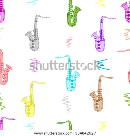 Seamless texture with color saxophones on the white - stock vector