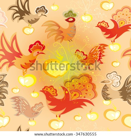 Seamless texture with colorful birds and apples on light colored background - stock vector