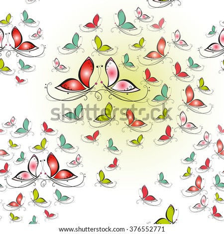 Seamless texture with colorful butterflies on white background - stock vector
