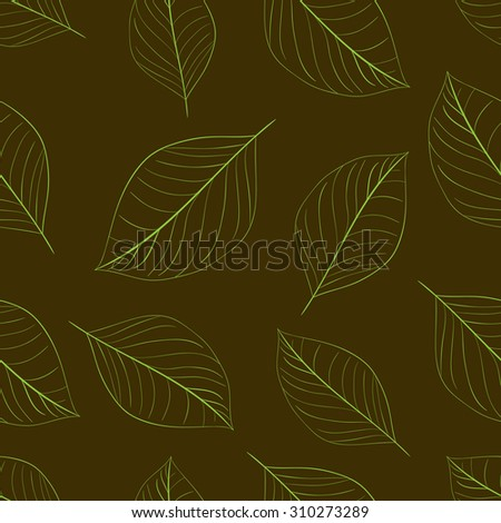 Seamless texture with contours of usual leaves