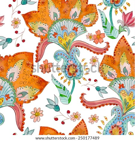 seamless texture with cute flowers. watercolor - stock vector