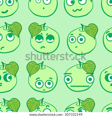 Seamless texture with emotional green big-eyed apples - stock vector