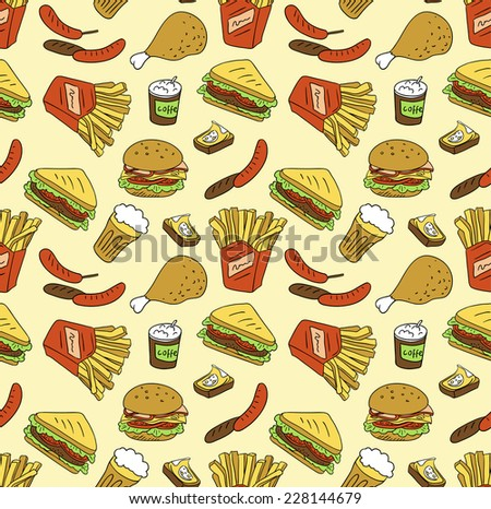 Seamless texture with fast food icons - stock vector