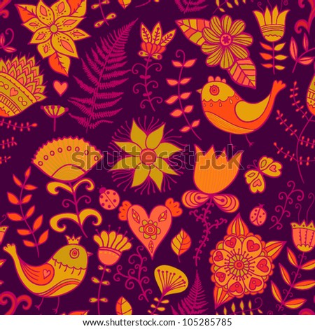 Seamless texture with flowers and birds. Endless floral pattern.Seamless pattern can be used for wallpaper, pattern fills, web page background,surface textures. Gorgeous seamless floral background - stock vector