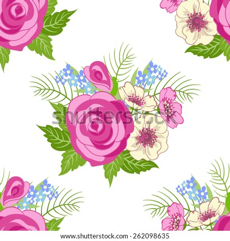 Seamless texture with flowers and leaves. Can be used for wallpaper, pattern fills, web page background, surface textures - stock vector